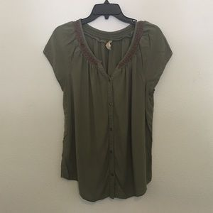 Faded Glory Green Button Down Blouse